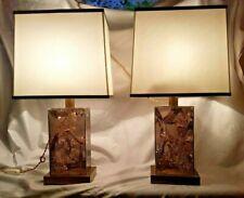 ROMEO REGA PAIR TABLE LAMP PLEXI CARAMEL METALACRILICO 1960/70