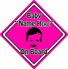 Personalised Baby/Child On Board Car Sign ~ Baby Face Silhouette ~ Neon Pink
