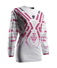 Thor Race MX Motocross Women's Jersey S7W Pulse Facet White/Magenta Large