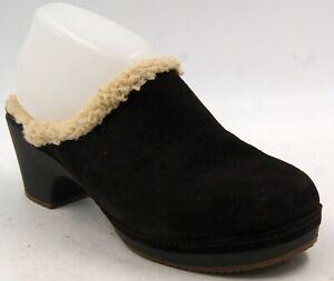 Crocs Sarah Lined Brown Suede Women's Heel Mule Clogs Sz 9 W Shoes