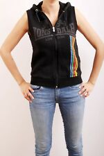 Lonsdale London Ladies Sleeveless Black Zip Front Hooded Top (M) Med UK12 NICE !