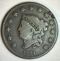 1831 Coronet Large Cent US Copper Type Coin Very Good Genuine Penny N3 M40 VG