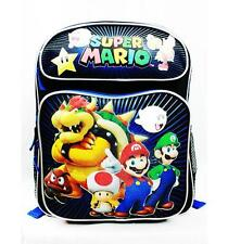 "NWT Super Mario Bros (Brothers) Medium Backpack Bag 14"" Licensed by Nintendo New"