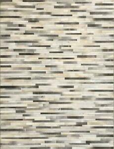 Gray- Beige & White 100% Cowhide Rugs Patch Work in Stripe Carpet Area All Sizes
