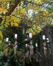 antico grande raro lampadario bronzo con cariatidi 8 luci x sala stile classico