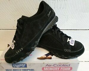 Ladies Skechers Bikers Contained Black Suede Lace Up Shoes