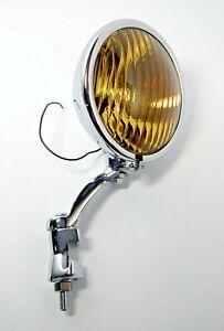 Amber Fog Light & Chrome Bracket, Glass Lens Vintage Style 12V for 1936-38 Chevy