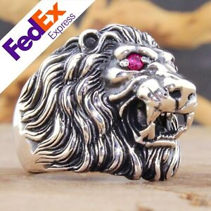 Lion 925 Sterling Silver Ruby Retro Gothic Biker Luxury Men's Ring All Sizes