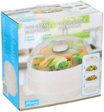 Food Microwave Steamer 2 Tier Healthy Cooker Eating Cooking Vegetable Rice Pasta