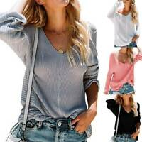Womens Sexy V-Neck Knitted Sweater Pullover Jumper Long Sleeve Baggy Tops Casual