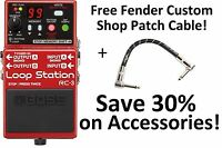 New Boss RC-3 Loop Station Guitar Pedal FREE Fender Custom Shop Patch