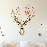EG_ Sika Deer Flower Bird Tree Removable Wall Sticker Mural Decal Home Decor Eag