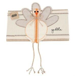 """Mud Pie Thanksgiving Gobble Turkey Burlap Pillow Wrap Decor Fits 15"""" Pillow"""