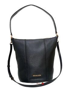 Michael Kors Brooke Medium Bucket Messenger Leather Crossbody Hobo Bag Black