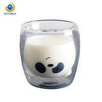 Lovely Panda Double Wall Glass Cup 260ml Bear Beer Creative Milk Glass Juice Mug