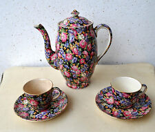 Royal Winton Majestic-Older Chintz Perth Shape Coffee Pot & Lid + 2 Cups/Saucers