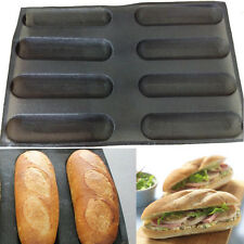 """10"""" Fiberglass Silicone French Bread Baking 8 Loave Mold Baguette Pan Tray Liner"""