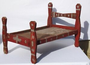 Second of two great and unusual African-American doll's beds from the 1940's.