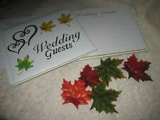 Wedding Party Reception Lodge ~Fall Leaves~ Double Gold Hearts Guest Book