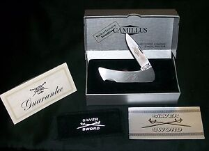 "Camillus 864 Lockback Knife & Pouch Silver Sword 3-1/8"" Closed W/Packaging Rare"