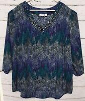 CATO WOMAN Plus 26/28W Jeweled Top Aqua Purple Gray V-Neck Easy Care Longer Back