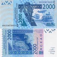 WEST AFRICAN STATES, BURKINA FASO, 2000 Francs, 2019, Code C, P316c, UNC