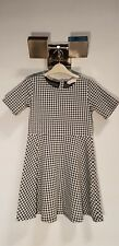 H&M SKATER DRESS IN A DOGS TOOTH CHECK PATTERN BLACK & WHITE  AGE 6-8 YEARS OLD