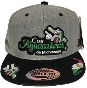 LOS AGUACATEROS DE MICHOACAN HAT HEATHER GREY BLACK  SNAP BACK CON 6 LOGOS