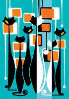 Clee Sobieski PRINT Mid Century Modern Black White Kitty Cat Retro Mod Atomic