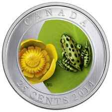 Canada 2014 25 Cent Coloured Coin Water Lily and Leopard Frog
