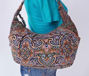 TIGNNANELLO Lrg Multicolor Brown Canvas Leather Shoulder Hobo Satchel Purse Bag