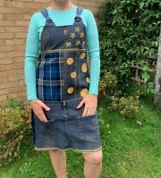 Upcycled unique clothing pinafore dress free fit size 8-10 jumper eco friendly