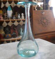Vintage MCM Blenko Flat Top Aqua Blue Bulbous Glass Bottle Vase Joel Myers