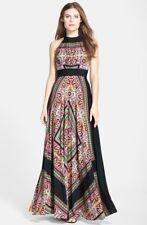 Eliza J Scarf Print Crêpe de Chine Maxi Dress (size 6)