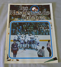1977-78 WHA Quebec Nordiques vs Houston Aeros Hockey Program  # 2