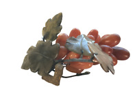 Vintage CARNELIAN Agate Grape CLUSTER with Carved Stone Leaves Beautiful Colors