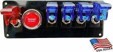 12V Switch Panel Black Powder Coat 4 BLUE Switch/1 Red Switch/Push Start Button