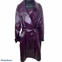 ASOS Oversized Trench in Vinyl Purple Women's Size 14 Maxi Length Excellent