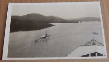 Postcard Battleship HMS Nelson Navigating The  Panama Canal & boat RPPC  1930's