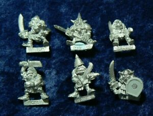 6x Goblin Warriors Gobbos Orcs & Goblins Warhammer Classic Metal 1988 OOP