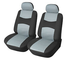 Car Seat Covers 2 Front PU Leather Compatible to Lincoln 859 Bk/Gray