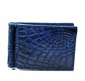 New Navy Blue Mens Money Clip Walllet  Real Alligator Crocodile Leather Skin.