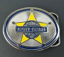 Deputy Sheriff Silver Tone Heavy Duty Metal Belt Buckle Made in USA Blue Yellow