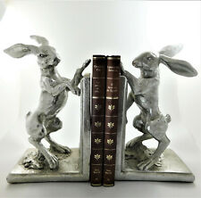 Hare Book Ends Shelf Tidy Statue Silver Colour Figurine Pair of Hares Bookends