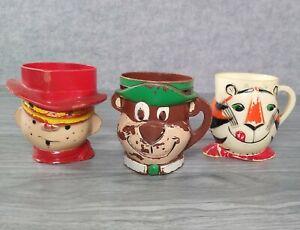 3 Vintage 60's Tony the Tiger, Dennis the Menace, Yogi Bear Plastic Cup F&F Mold