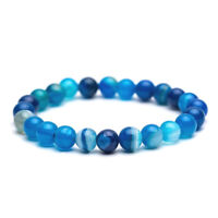 Blue Agate Bracelet Beaded Stretch