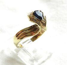 ESTATE 14K GOLD PEAR .53CT SAPPHIRE & DIAMOND COCKTAIL Engagement DINNER RING