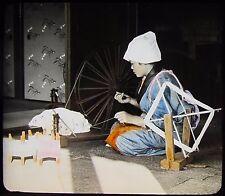 Glass Magic Lantern Slide GIRL SPINNING SILK C1910 PHOTO JAPAN JAPANESE