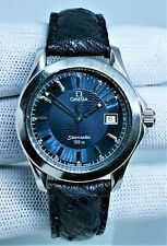 Omega Seamaster 120 Blue Wave Quartz Cal 1438 with Hand Made Ostrich Skin Strap