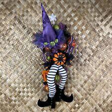 "Halloween Witch Wreath Large 36"" Witch Hat & Legs Deco Mesh Handmade Door Decor"